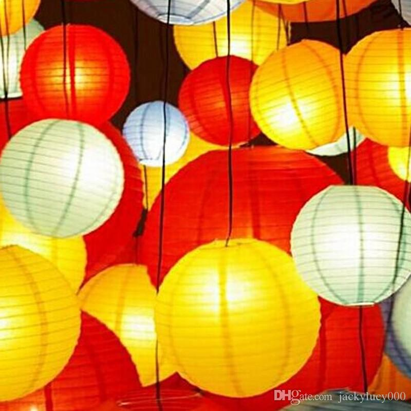 Diameter 6 Inch 15CM Holiday Hanging LED Paper Lantern Many Color For Wedding Birthday New Year Party Decoration
