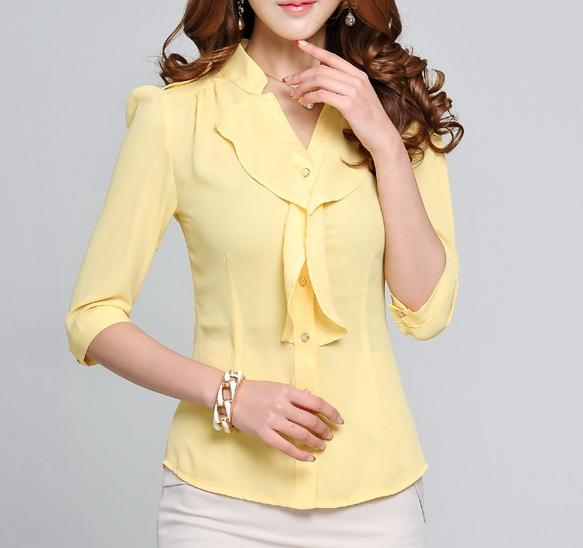 2020 Fashion Ladies Blouse Summer Ruffled Front Office Design Woman Shirt Office Ladies Shirt Formal Design From Donnatang240965 12 39 Dhgate Com