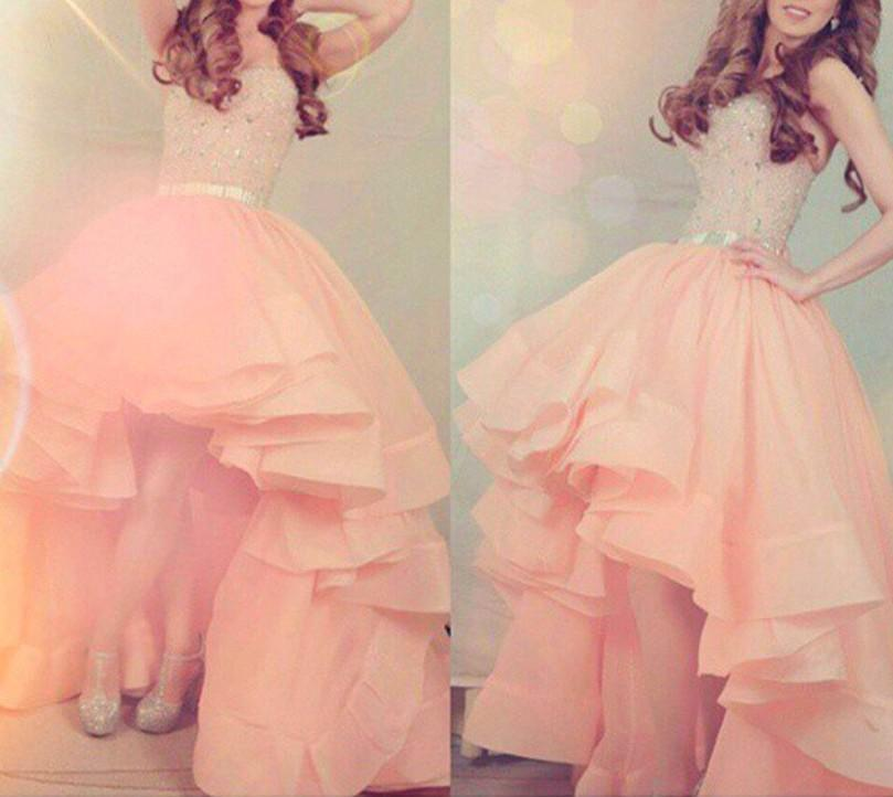 Ball Gown Layered Coral Prom Dresses High Low Strapless Beaded Shiny Women Gowns Organza 2016 Wedding Party Gowns