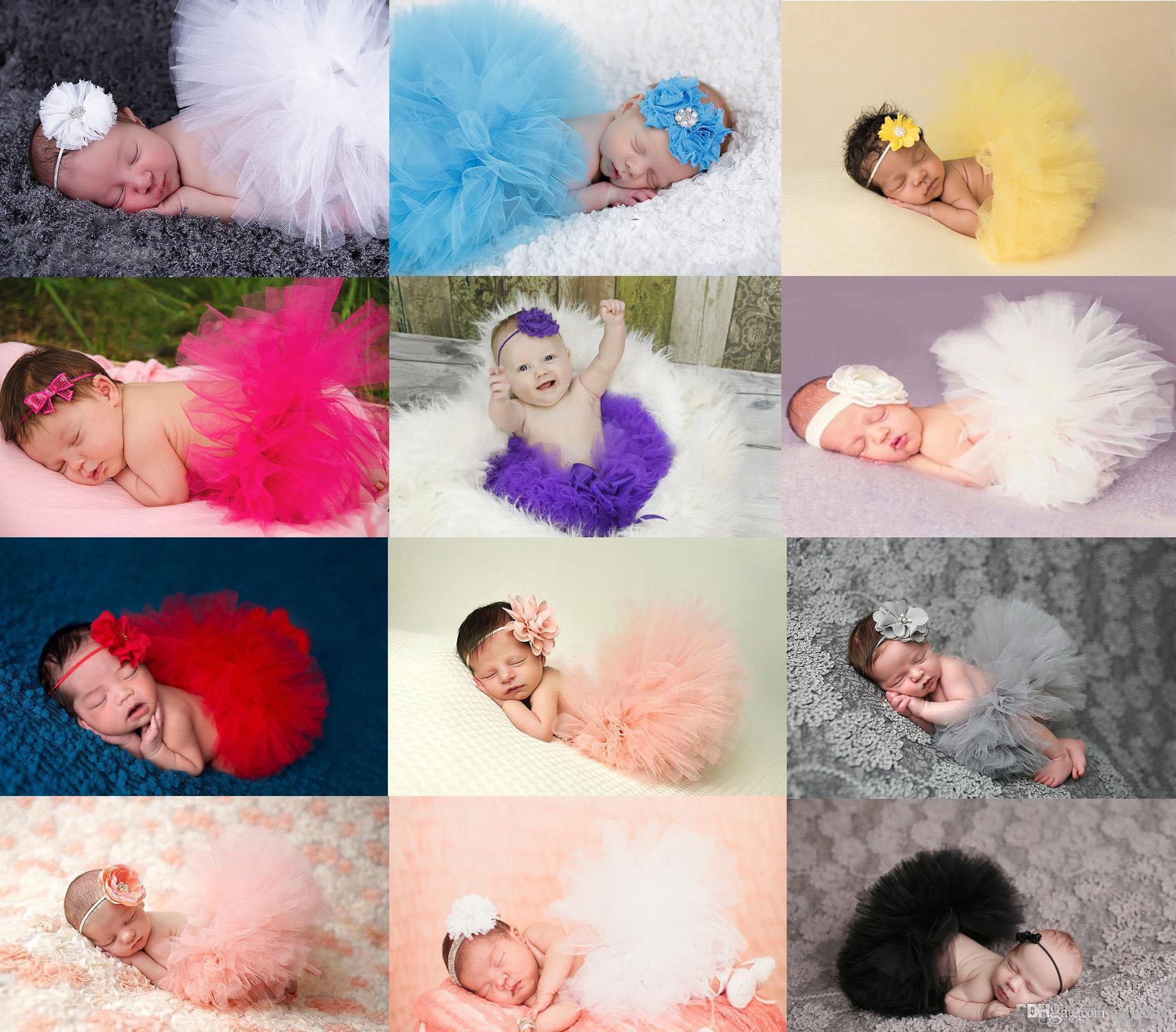 Bebê recém-nascido Tutu Saia Fotografia Props Pavão Feitos À Mão Crochet Gorro Frisado Cap Vestido de Baile b899