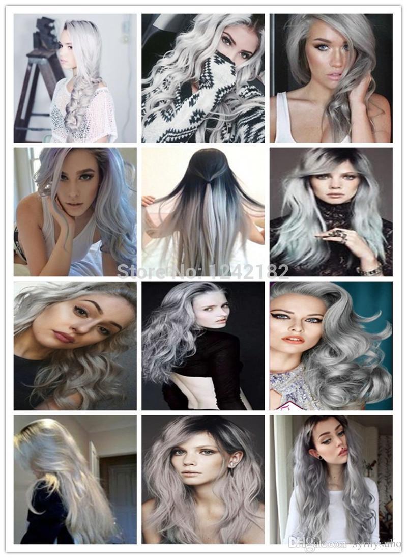 Micro Loop Ring Links Remy Straight Silver Grey Human Hair Extensions 100g/lot 1g/Strand Brazilian Virgin Human Hair Extension