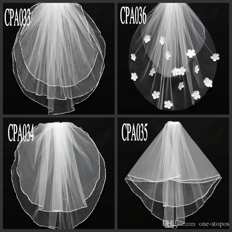 قصيرة حقيقية صورة الزفاف الحجاب 2 طبقة مطرز الزهور الأبيض العاج تول الحجاب الزفاف في الأسهم اكسسوارات الزفاف نمط مختلف نمط CPA033