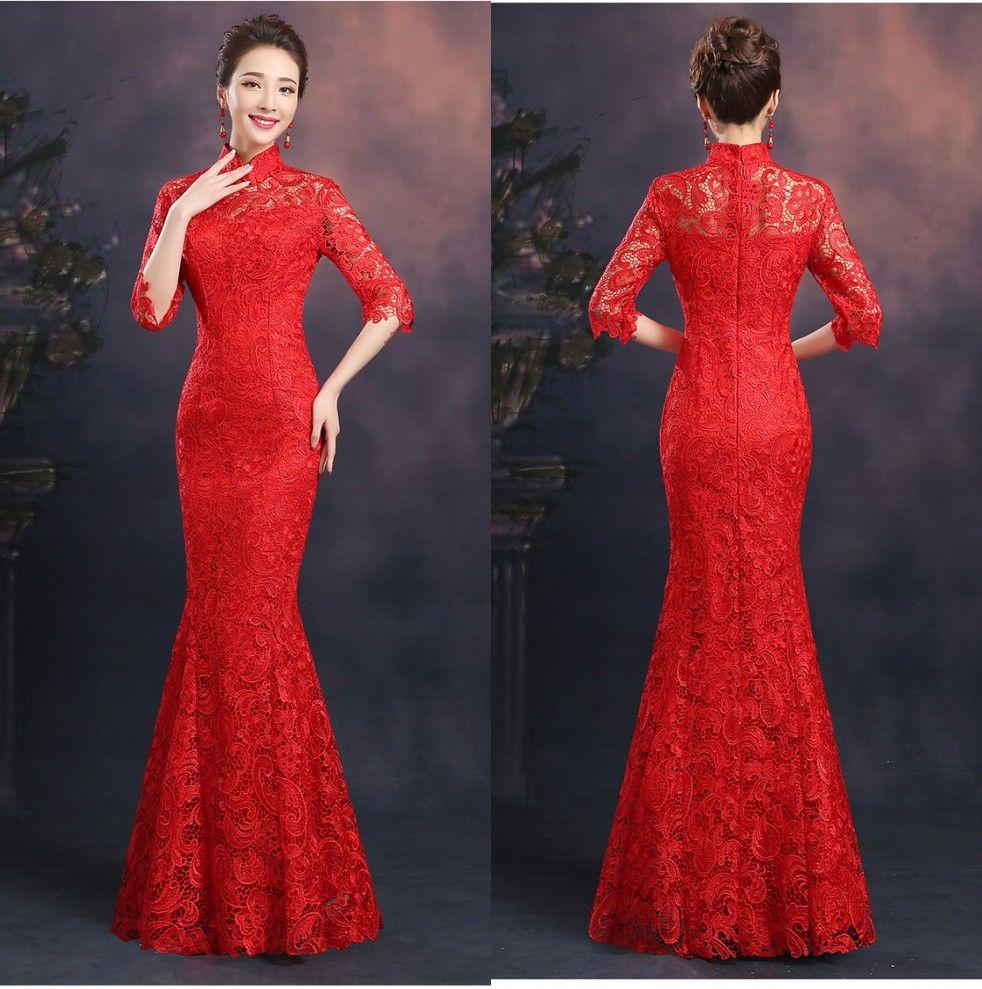 Vestiti Eleganti Cinesi.Acquista Elegante Pizzo Rosso 2015 Cheongsam Con Mezze Maniche A