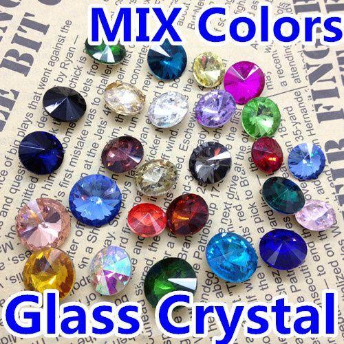 Mieszany Kolor Rivoli Crystal 8mm 10mm 12mm 14mm 16mm 18mm Okrągłe Fancy Stone Crystal Rivoli Koraliki