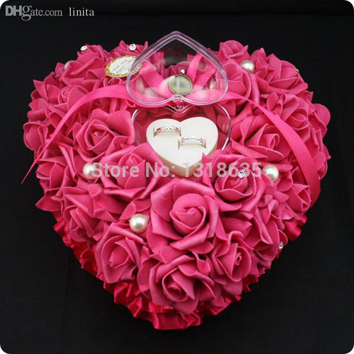 Wholesale-Indian Red flower made pillow for wedding ring cushion heart shape pe real touch flowers