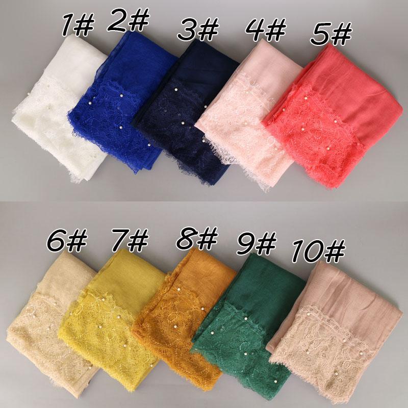 women lace pearl cotton shawls solid color long muslim hijab wrap headband muffler scarves/scarf 20 colors 190*100cm YW50