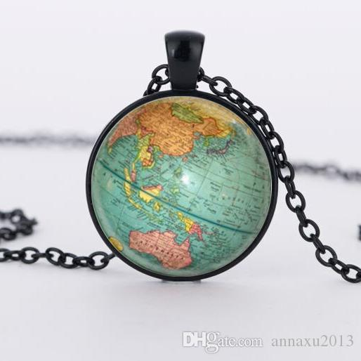 Wholesale hot glass dome jewelry vintage globe necklace planet earth hot glass dome jewelry vintage globe necklace planet earth world map necklace art glass dome pendant gumiabroncs Image collections