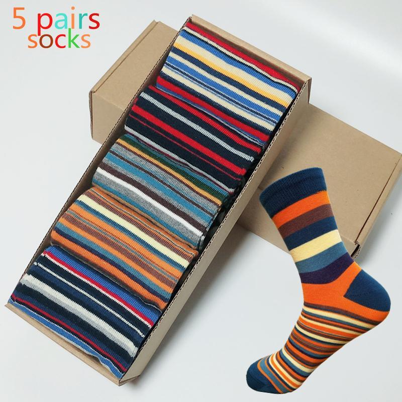 Повседневные мужские носки хроматические полоса пяти пар носков человек с дизайном одежда мода дизайнерский стиль хлопок нет коробки