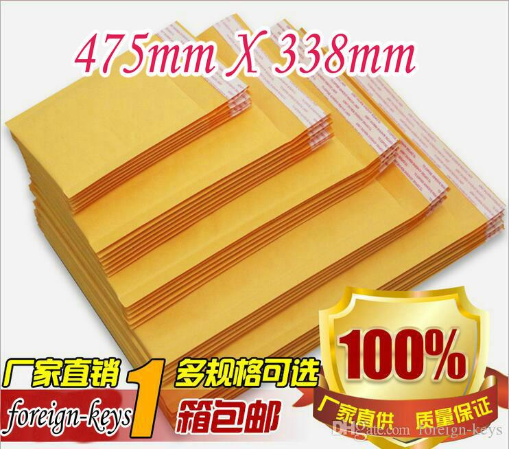 50PCS/lot High qulity Kraft Bubble Mailers Padded Envelopes without printing Bubble Cushioning Bag Kraft Paper Bag 457*338+40MM