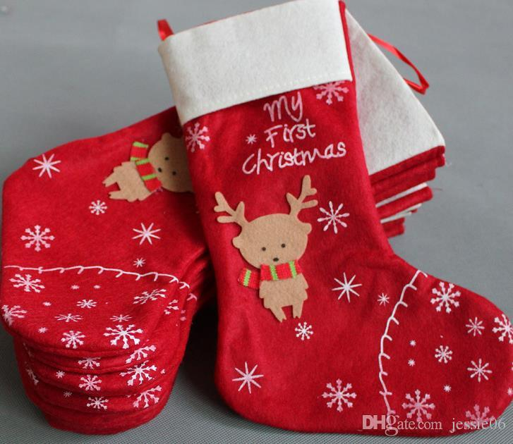 New Christmas Decorations snowflake deer Christmas stocking gift bag candy apple bags wrap long stockings socks red Festive Party Supplies
