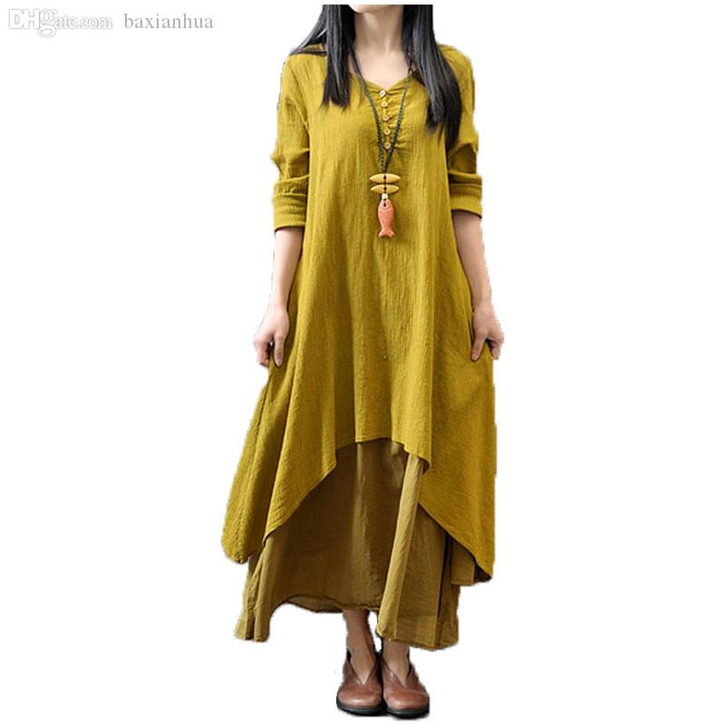 Wholesale-2016 Fashion Women Autumn Cotton Linen Boho Solid Long Maxi Dress Casual Loose Long Sleeve V-Neck Dress Vestidos Plus Size Hot
