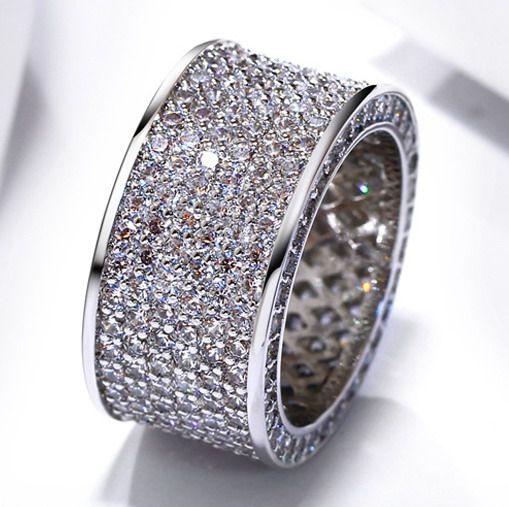 LUJO de alta calidad de 18 quilates de oro chapado grueso cóctel Micro Pave zircon lujo grandes anillos de eternidad