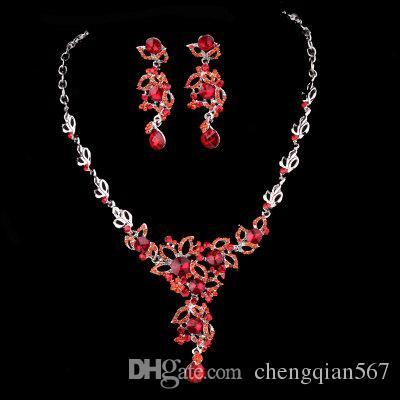 more color crystal wedding bride necklace earrings set ( y7d)