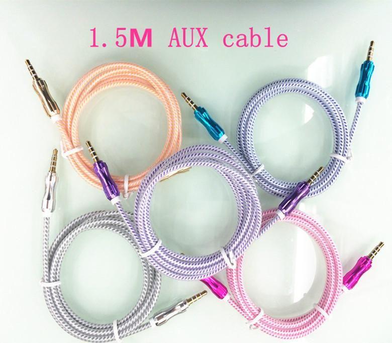 5FT 1.5m 3.5mm AUDIO AUX AUX AUX AUX Cable trenzado Alambre tejido auxiliar Estéreo Jack Playera para iPhone 6plus Teléfono Móvil Altavoz