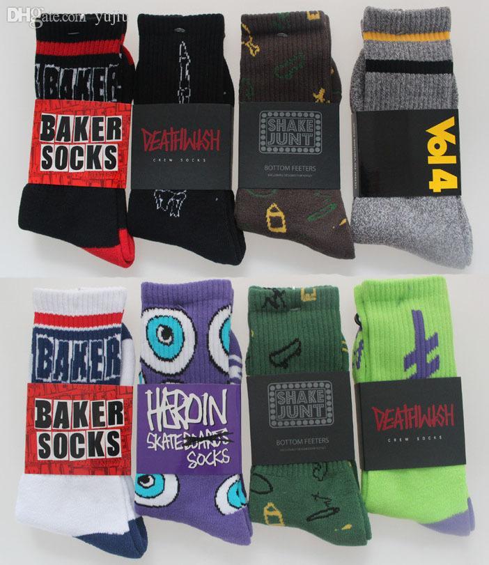 Atacado-5pais = 10pieces meias masculinas Moda Jasper Baker Harajuku verão Estilo Grosso Terry Esporte Socks Skate algodão