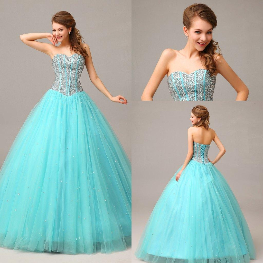 New Arrival Sweetheart Ball Gown Tulle Prom Dresses Beads Crystal Charming Prom Gowns Discount Evening Dresses 2016 Quinceanera Dresses