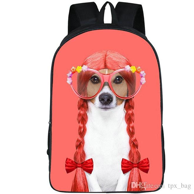 Hair dog backpack Cute animal daypack Funny picture schoolbag Leisure rucksack Sport school bag Outdoor day pack