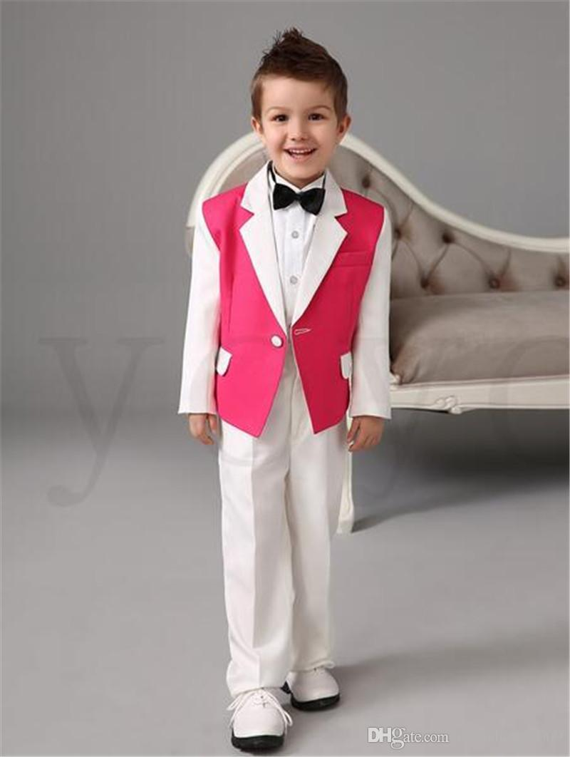 White Pink Boys Tuxedos Wedding Attire Baby Boy Dress Clothes Party Suits Blazers