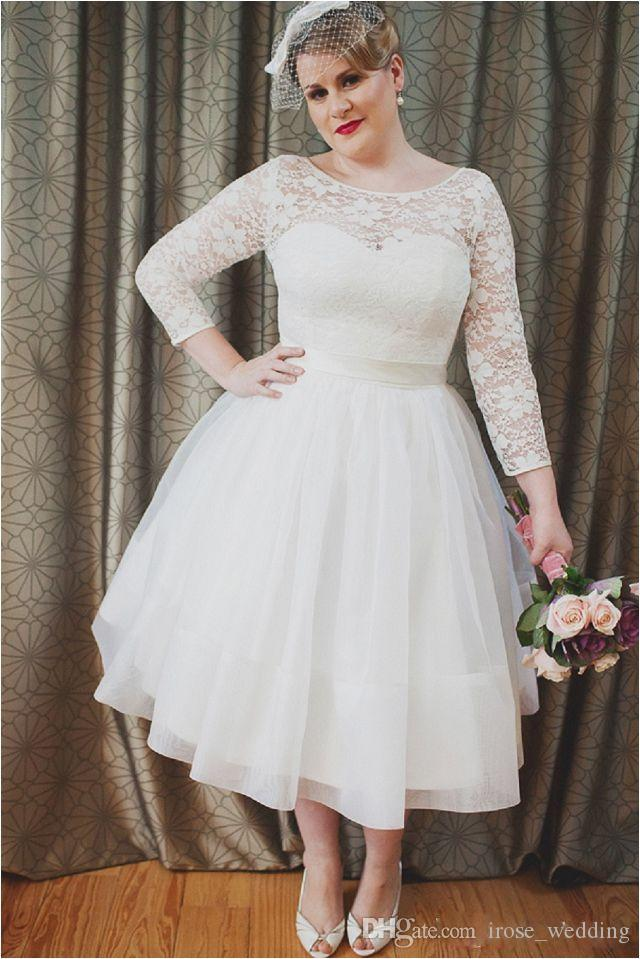 Discount 1950\'S Plus Size Lace Wedding Dress A Line Illusion Scoop Lace Up  Long Sleeve Tea Length Country Wedding Bridal Gowns Custom Robe De Ma ...