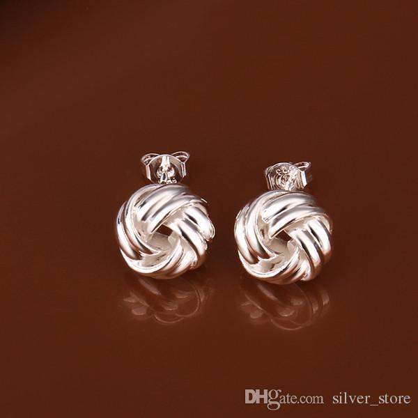 Marka Yeni Gümüş Plaka Dokuma Düğme Tipi Küpe SE377, Kadın 925 Gümüş Dangle Avize Küpe 10 Çift Bir Lot Fabrika Doğrudan