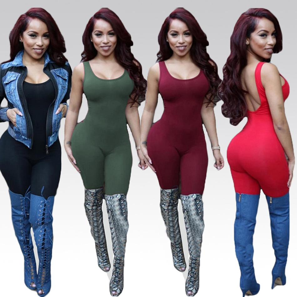 2016 여성용 바디 슈트 복장 여성용 점프 슈트 섹시한 뒷발 전체 길이 바디콘 점프 슈트 American Plus Size Apparel