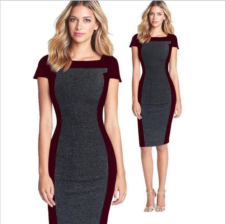 2016 Plus Size Office Lady Work Wear Bandage Bodycon Stripe Patroon Patchwork Party Dress tot 2XL