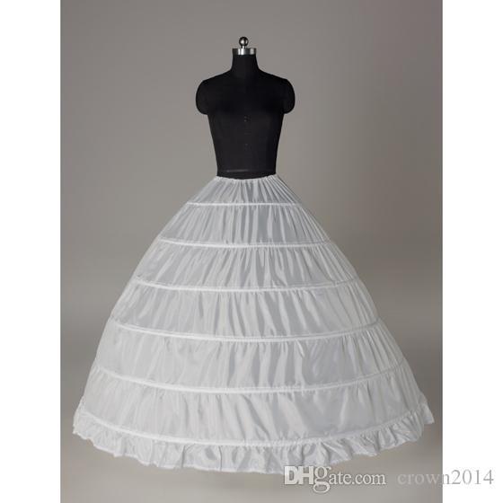 زائد الحجم القرينول قماش قطني التنورة الداخلية الزفاف 6 تنورات هوب لل الكرة أثواب الخصر 25 بوصة -55 بوصة عالية الجودة في المخزون الزفاف الملحقات