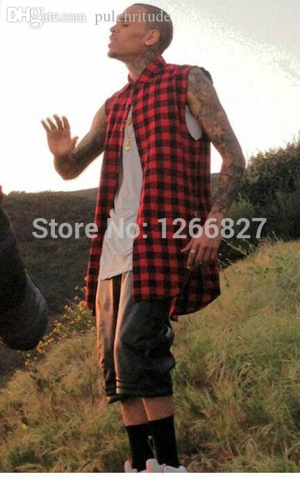 Оптовая-2015 новая летняя мода Майка мужчины шотландский плед сторона молнии футболка хип-хоп тенденция Крис Браун же пункт Бесплатная доставка
