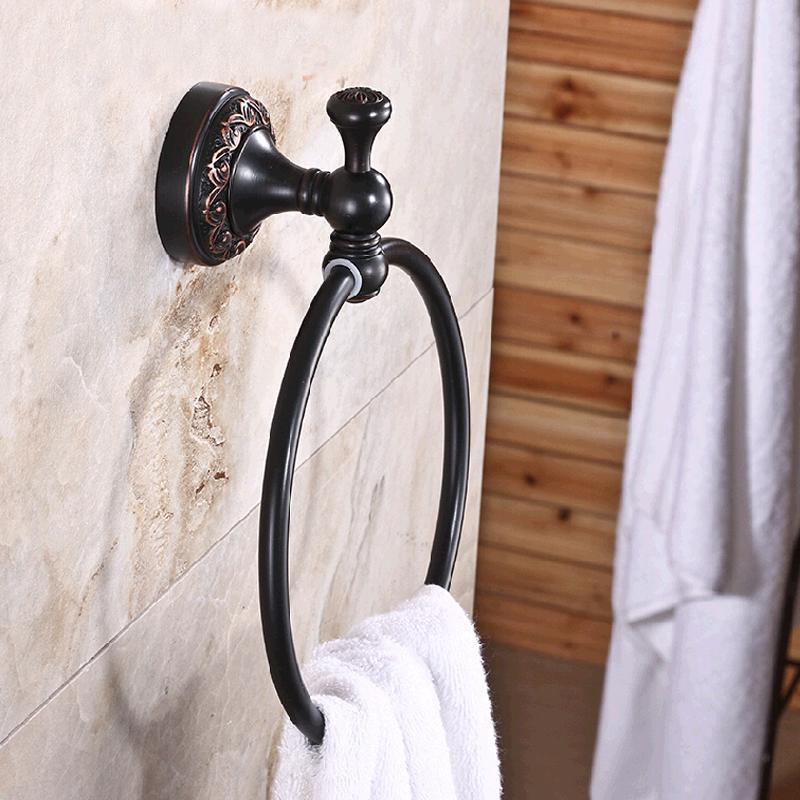Venta al por mayor y al por menor envío gratuito de latón macizo anillo de toalla aceite frotado bronce titular de la toalla flor redonda tallada montado en la pared