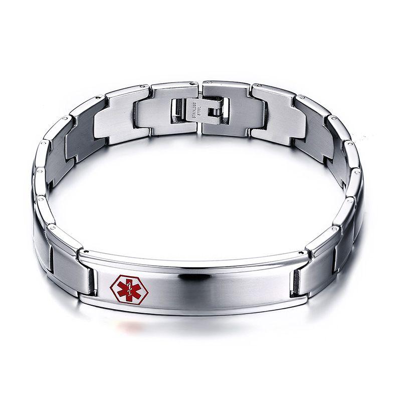 Roestvrijstalen Mens Medische ID Armband Gift voor Hem Fathers Day Valentijnsdag Gegraveerde Gepersonaliseerde Medische Alert ID Armband