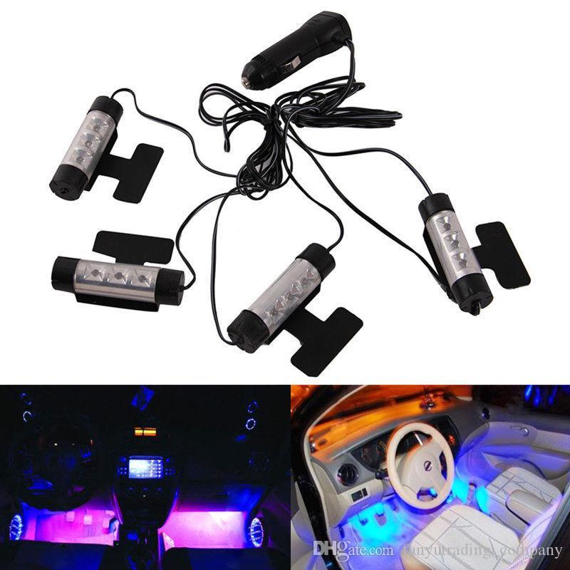 2019 유니버설 4 개 / 대 3 LED 자동차 충전 인테리어 액세서리 바닥 장식 분위기 램프 빛 무료 배송