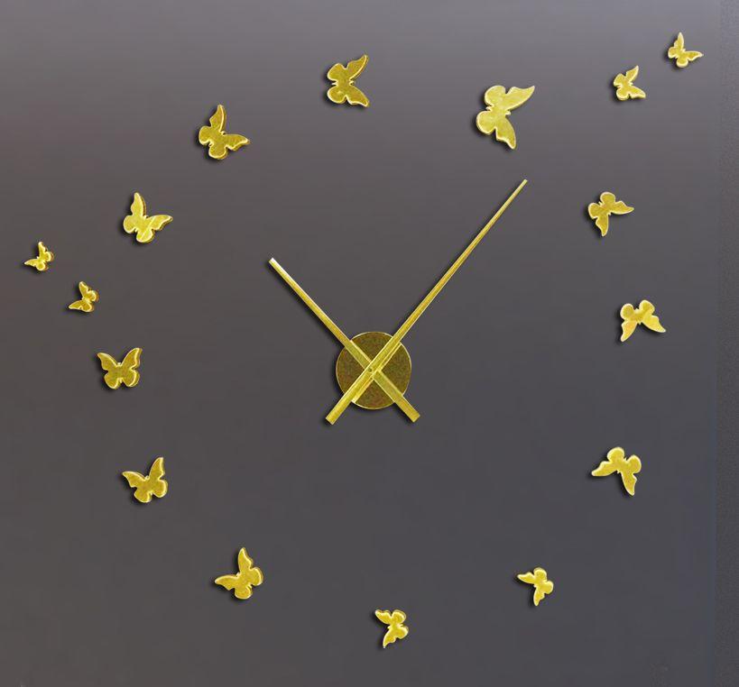 Gratis verzending 3D Big Size Wall Clock Butterfly Acrylic Metallic Sticker DIY Korte Woonkamer Decor Meeting Room Wandklok