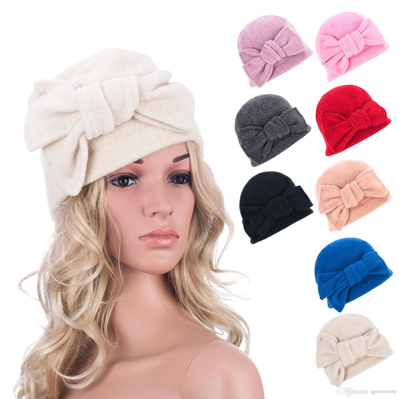 Womens Bow GATSBY 1920 Vintage Inverno Quente Cap Gorro Gorro Gorro Croché Bucket Hat A288