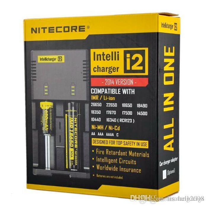 Original Nitecore I2 I4 universal Intellicharger Charger para e cigs cigarro 18650 14500 16340 26650 bateria multi função