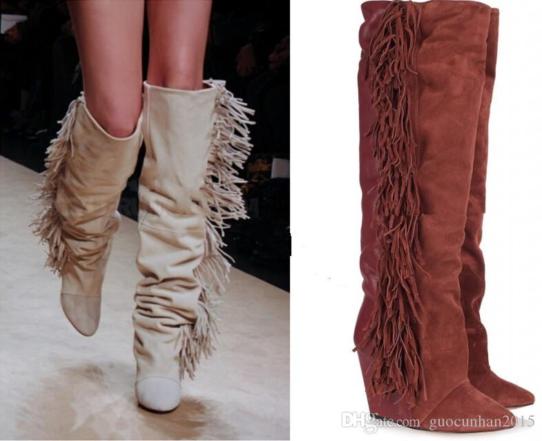 reasonably priced exclusive shoes new style Tassel Fringe Suede Leather Boots Over Thigh High Knee Boots Wedged Women  Boots Autumn/Winter Shoes Woman Mens Leather Boots Grey Boots From ...