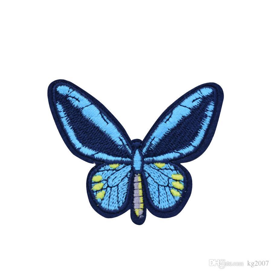 10 PCS Blue Butterfly Patches für Kleidung Taschen Eisen-on Transfer Applikationen Aufnäher für Jeans nähen auf Stickerei Flecken-DIY