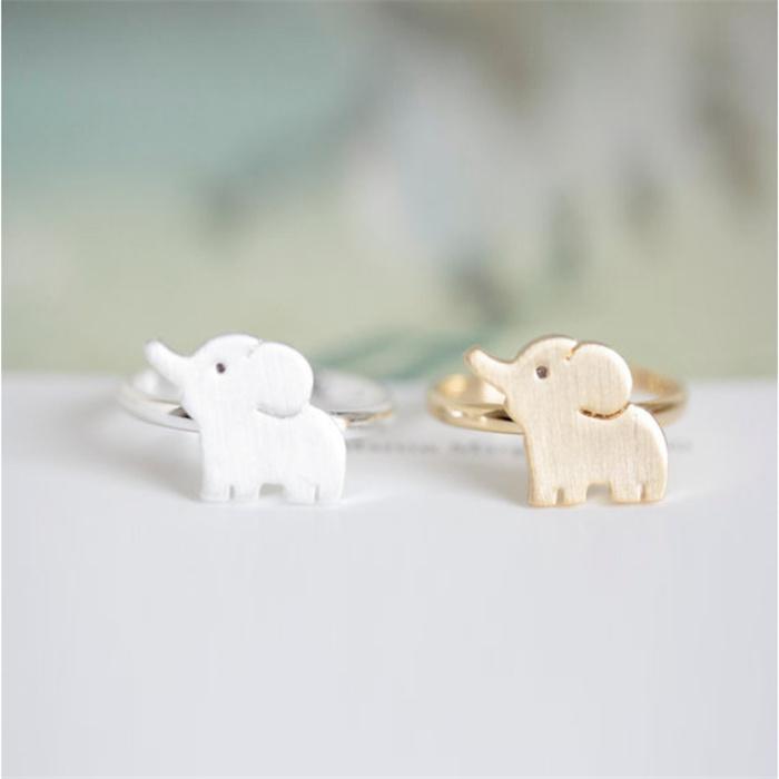 Niedlichen Cluster Ringe Beatuiful Ring für Mädchen 18 Karat Gold Überzogene Ringe Elefanten Shap Design für Sale21