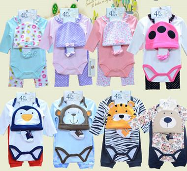 2016 Kleinkinder Babybody Strampler Jungen Mädchen Langarm-Body + Hose + Hut + Socken 4pcs Set Baumwolle Babys Kleidung 8colors # 3866