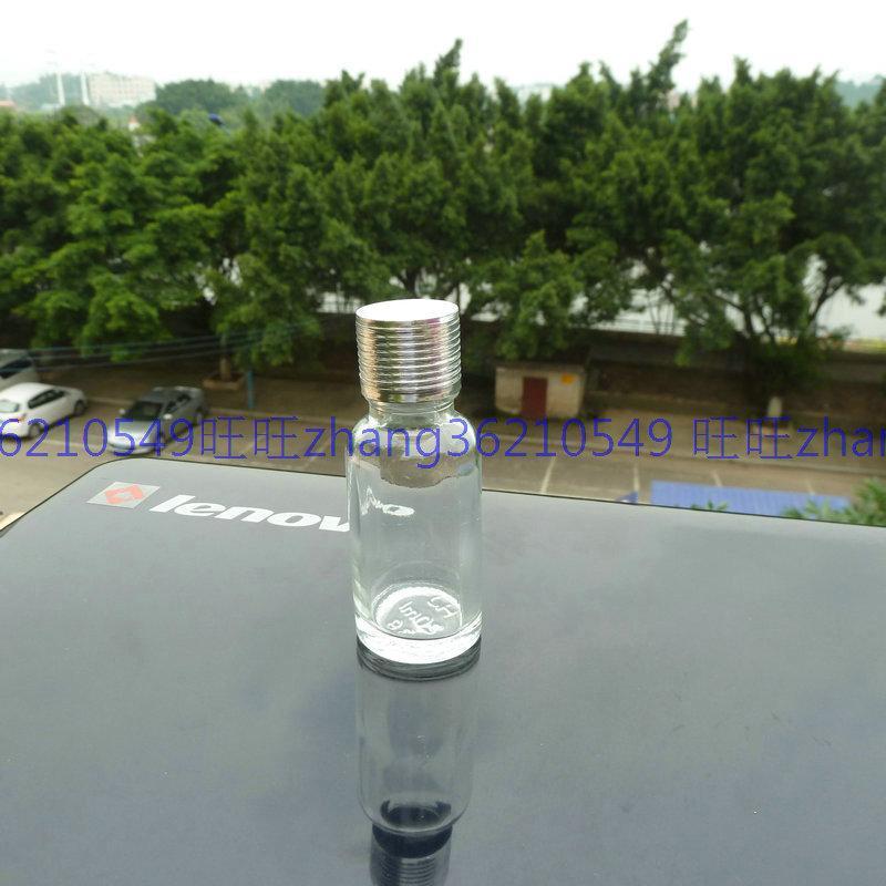 20ml 투명 / 투명 유리 에센셜 오일 병 반짝이 은색 알루미늄 캡. 오일 바이알, 에센셜 오일 용기