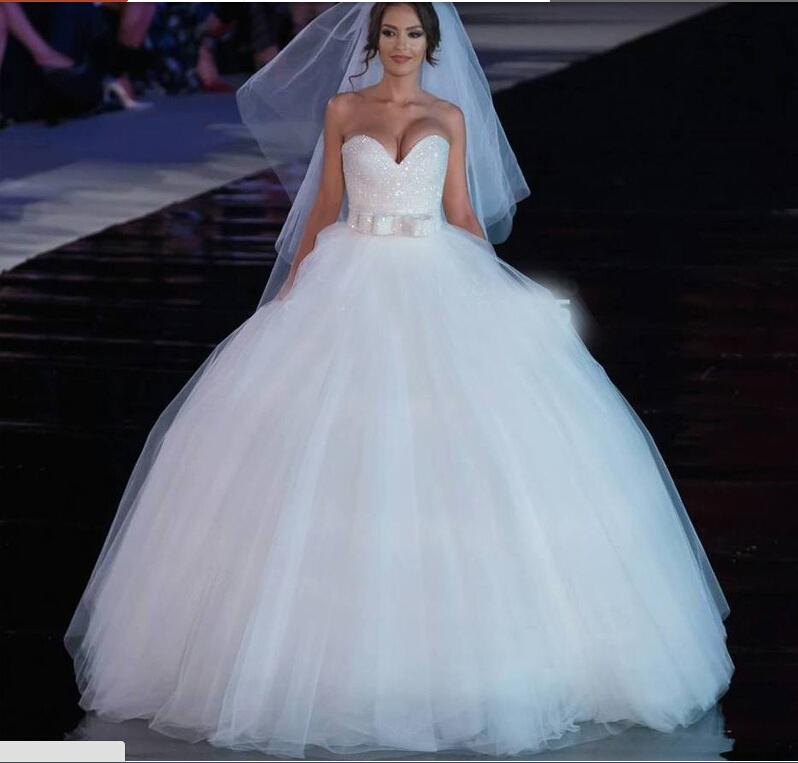 Sweetheart Princess Vestido de Noiva Ball Gown Wedding Dresses Bridal Gown with Sequins Beads Cheap for Bridal