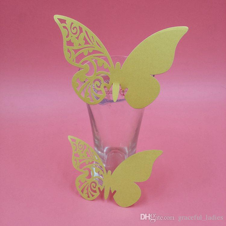 Gold Color Laser Cut Butterfly Wine Glass Card Wedding Party Decoration Glasses Name Card Hollow Out Custom Color Wedding Favors Supplies