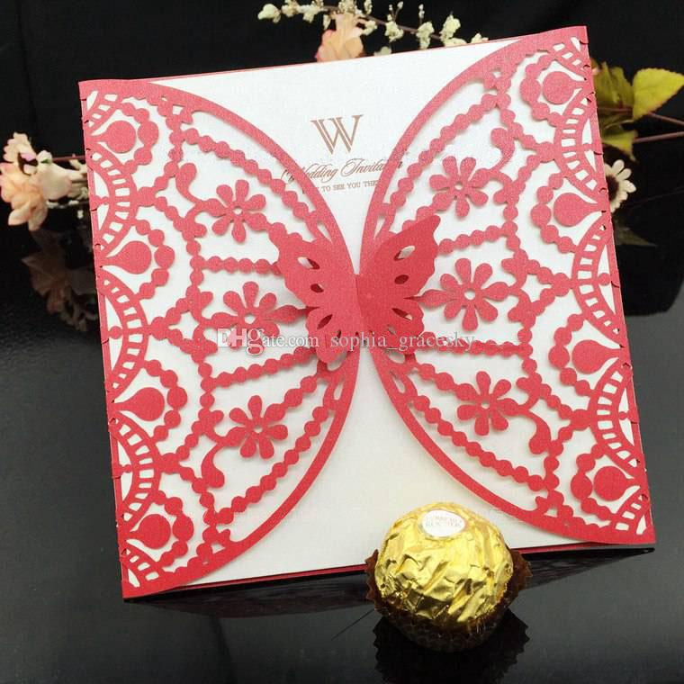 50PCS Laser Cut Paper Lace Hollow Out Wedding Business Party Invitation Card with Inner Paper Greeting Card Butterfly Design Free shipping
