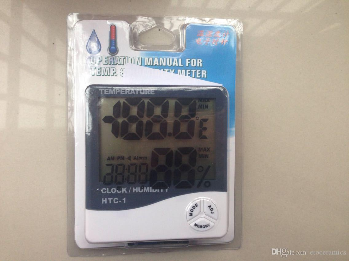 Gorąca wyprzedaż!! Nowy LCD Cyfrowy Termometr Temperatura Miernik Higrometr Zegar HTC-1