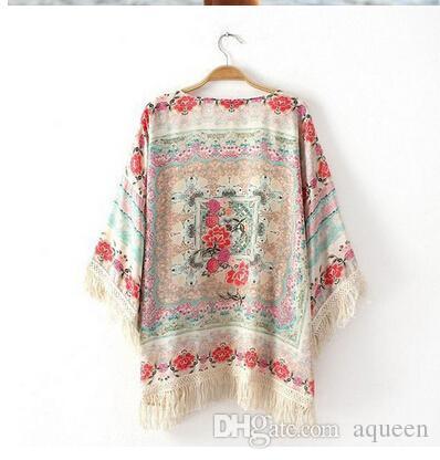 Wholesale-Vintage Retro Boho Hippie Tassels Chiffon Top Kimono Coat Cape Jacket Cardigan