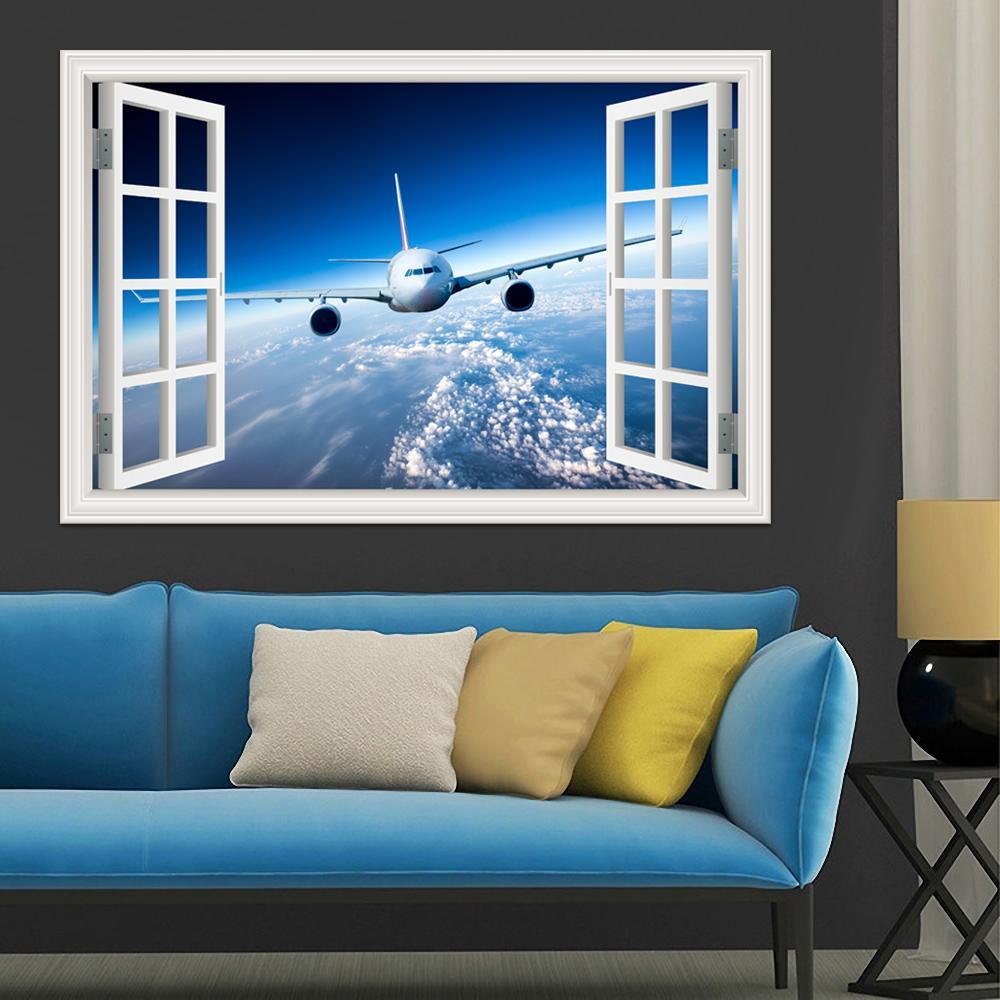 3d المشهد خلفيات طائرة الجدار ملصق مائي فينيل جدار الفن جدارية كبيرة نافذة عرض السماء الزرقاء ديكور المنزل غرفة المعيشة