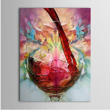 2019 20 24inch Framed Canvas Oil Paintings One Panel Modern Still Life Wine Cup Hand Painted Rectangle Shape Wall Art Paper Ready To Hang From
