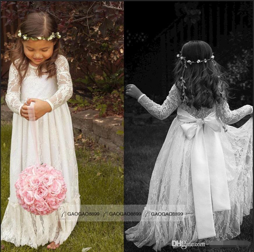 2019安い長袖レースの花の女の子のドレスジュエルホワイトラインの床の長さの赤ちゃんの正式な機会スカートの最初の聖体拝領ブライダルガウンかわいい