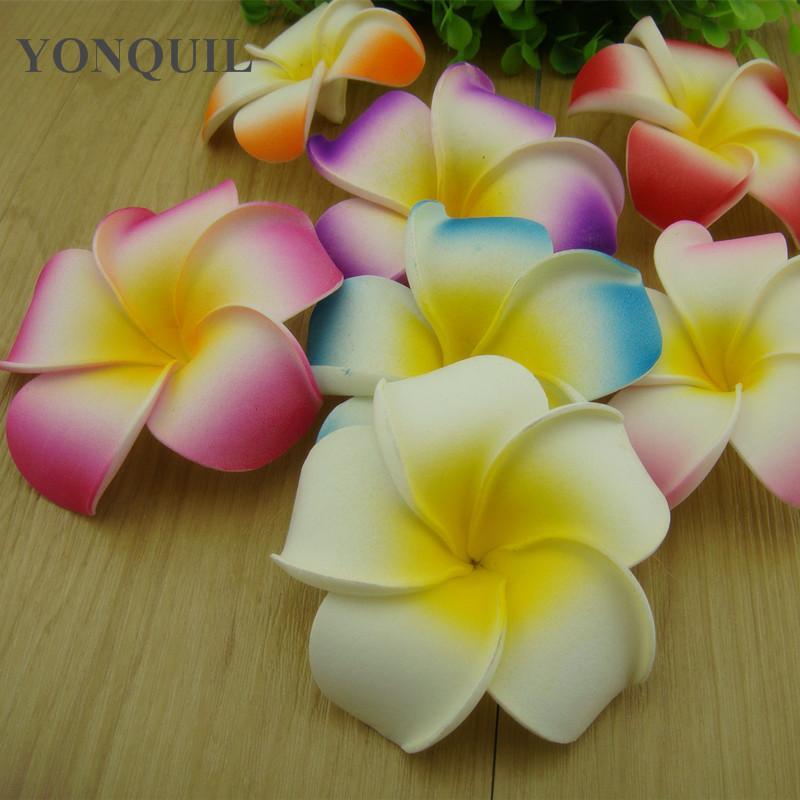 Freies Verschiffen 9cm 7colors schäumen hawaiische Plumeria-Blumen-Frangipani-Blumen-Haarspangen / Art- und Weisehaarspangen / Hochzeits-Kopfbedeckung, 50 PC / Los
