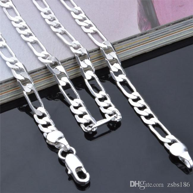 4mm Figaro Łańcuch Naszyjnik 16-24 cali 925 Sterling Posrebrzany Moda Męska Biżuteria Najwyższej Jakości Darmowa Wysyłka