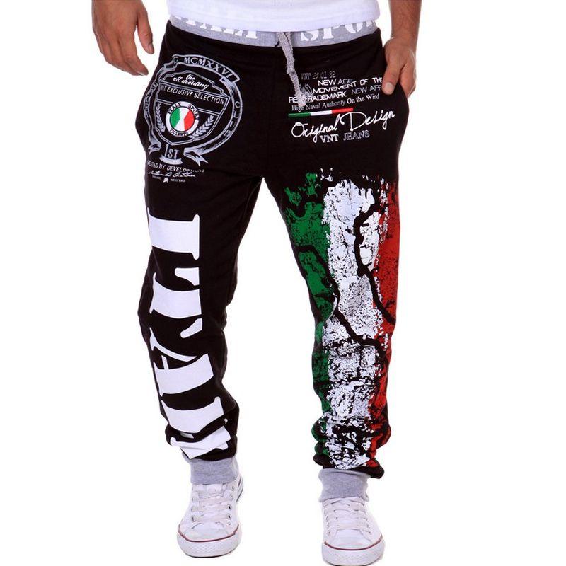 Venta al por mayor-Tallo más al aire libre Nuevo Moda Hombre Pantalones de jogging Deportes Indicador italiano Impreso Pantalones casuales Jogger Pantalones sueltos Leggings Hombres Y342